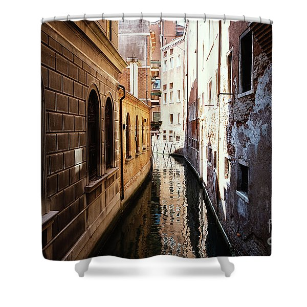 A Shadow In The Venetian Noon Narrow Canal Shower Curtain