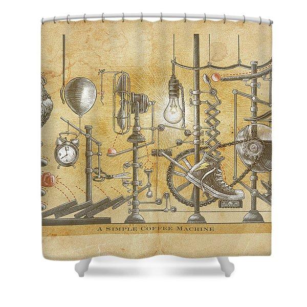 A Simple Coffee Machine Shower Curtain