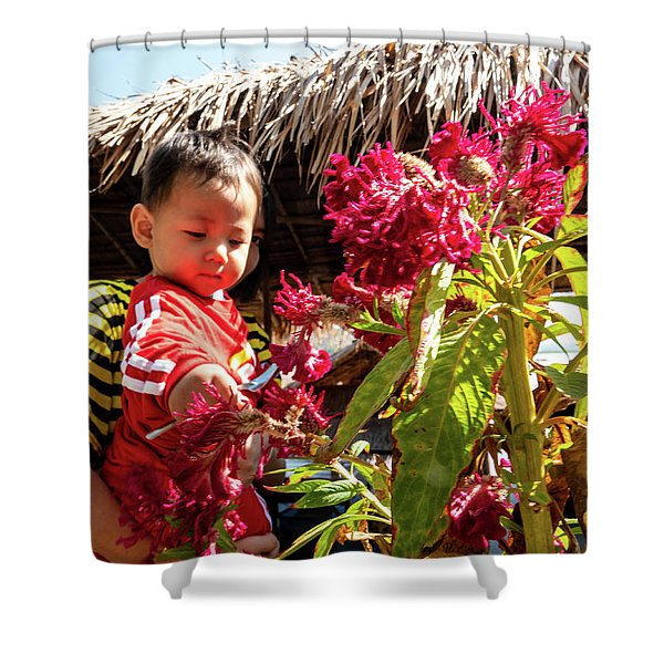 A Small Person With Reflected Flowers Shower Curtain