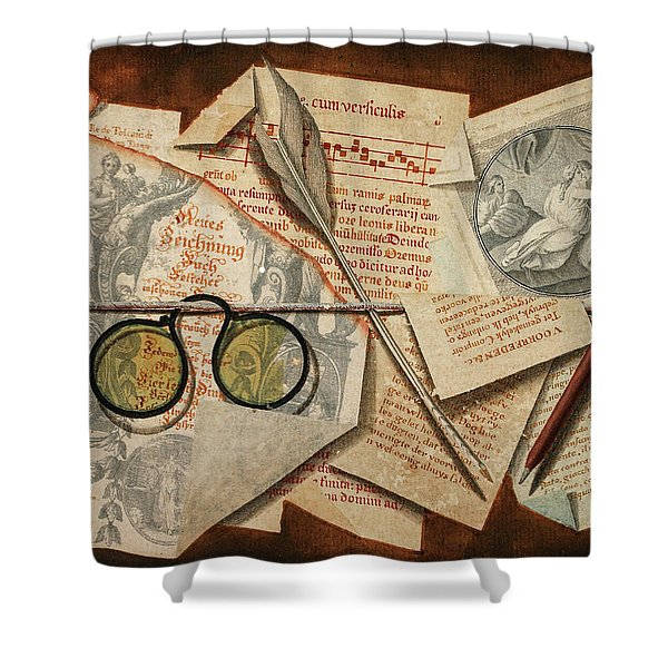 A Trompe L'oeil With Pince-nez, Pages From A Book And A Quill Pen Shower Curtain