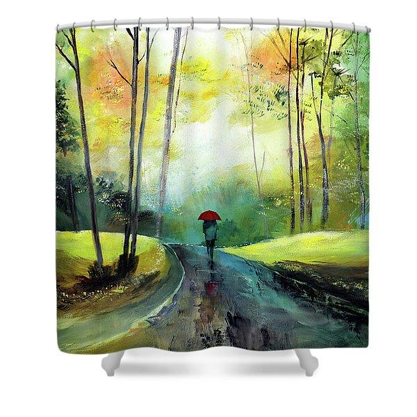 A Walk In The Rain Shower Curtain
