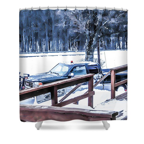 A Worker Plows Heavy White Snow 1 Shower Curtain