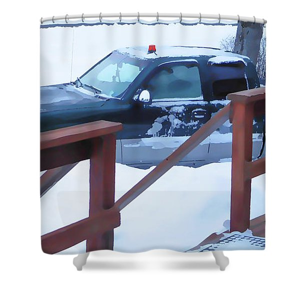 A Worker Plows Heavy White Snow 2 Shower Curtain
