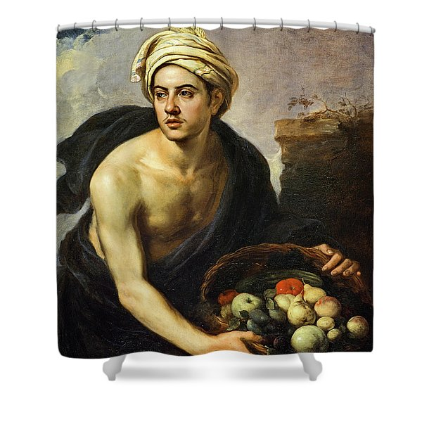 A Young Man With A Basket Of Fruit, 1650 Shower Curtain