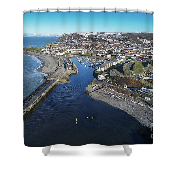 Aberystwyth Harbour From The Air In Winter Shower Curtain