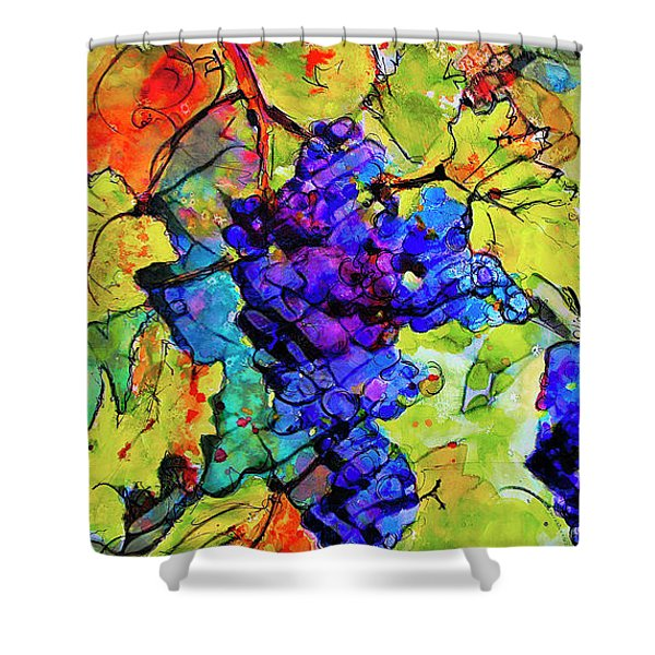 Abstract Blue Grapes Shower Curtain