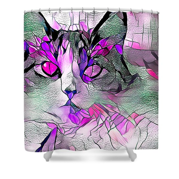Abstract Calico Cat Purple Glass Shower Curtain