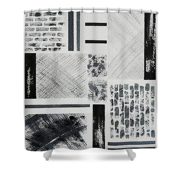 Shower Curtain featuring the painting Abstract Collage by Karen Fleschler