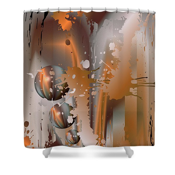 Abstract Copper Shower Curtain