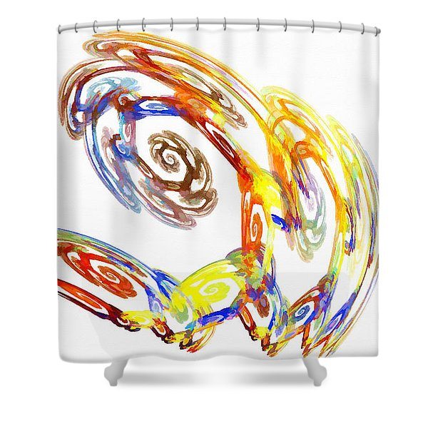 Abstract Crab Yellow Shower Curtain