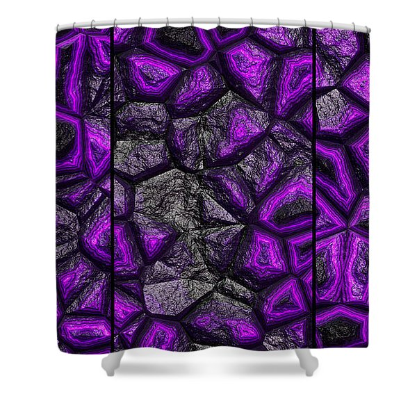 Abstract Deep Purple Stone Triptych Shower Curtain