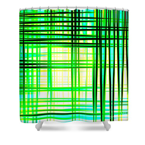 Abstract Design With Lines Squares In Green Color Waves - Pl409 Shower Curtain
