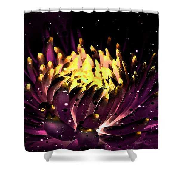 Abstract Digital Dahlia Floral Cosmos 891 Shower Curtain