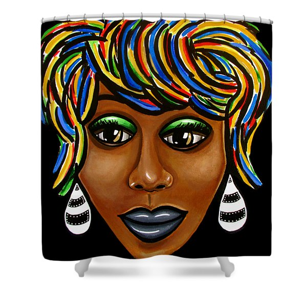 Abstract Art Black Woman Retro Pop Art Painting- Ai P. Nilson Shower Curtain