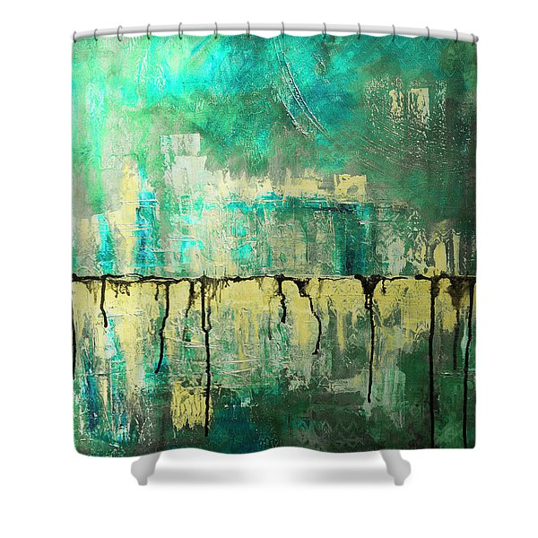 Abstract In Yellow And Green 2 Shower Curtain