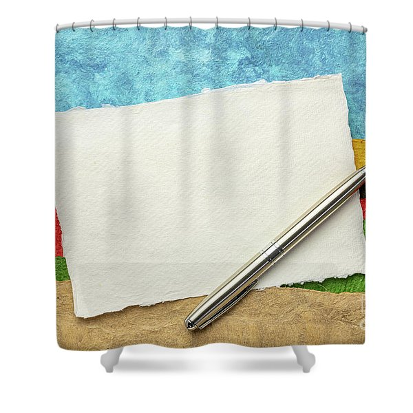 Abstract Landscape With A Blank Note Shower Curtain
