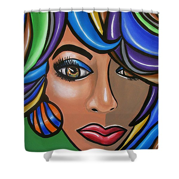 Abstract Woman Artwork Abstract Female Painting Colorful Hair Salon Art - Ai P. Nilson Shower Curtain
