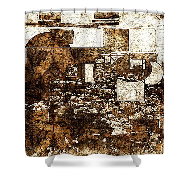 Abstract Map Shower Curtain