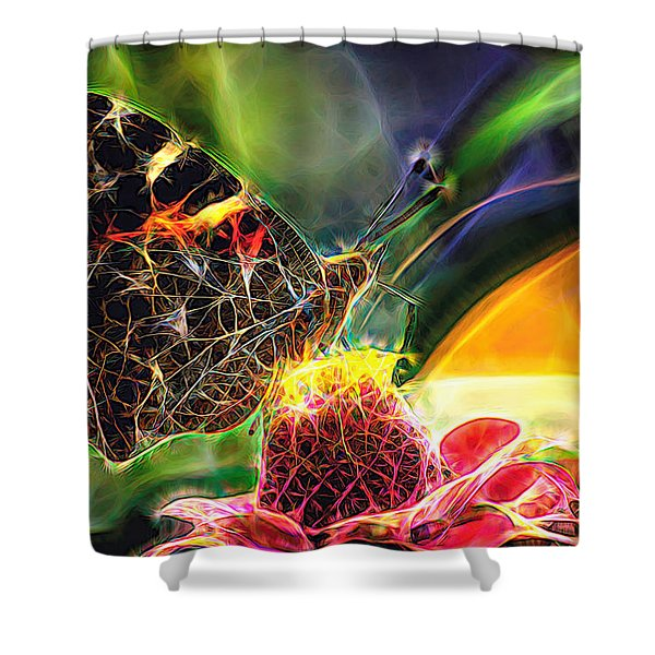 Abstract Painted Lady Butterfly Shower Curtain
