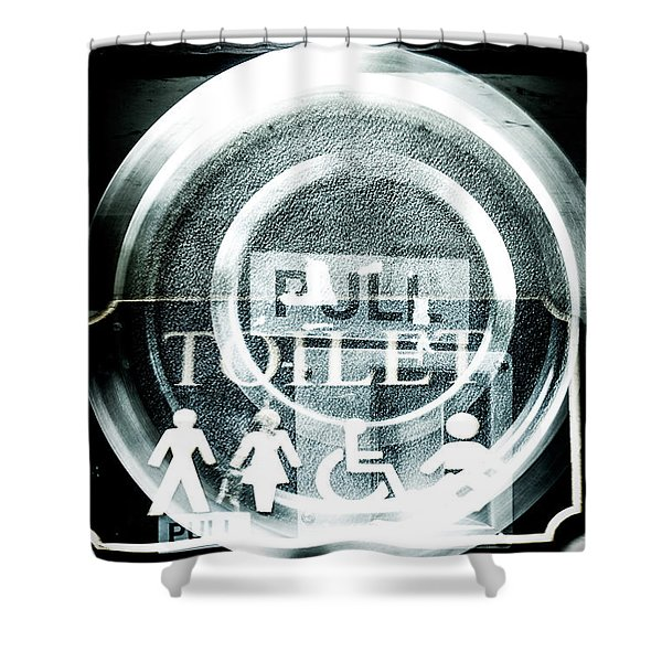 Abstract Public Toilet Sign Shower Curtain