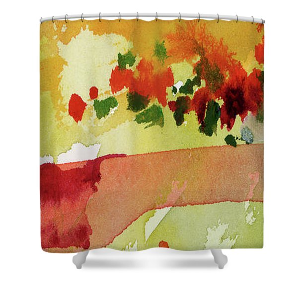 Abstract Red Poppies Panorama Shower Curtain
