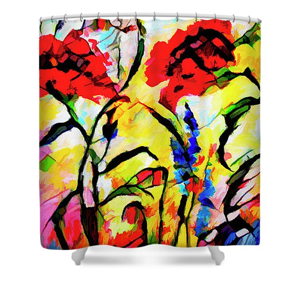 Abstract Red Poppies Provence Shower Curtain