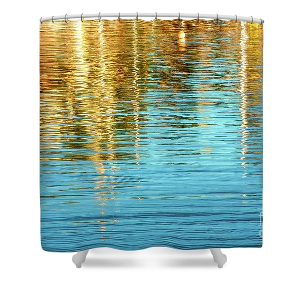 Abstract Reflections In Camden Harbor Maine Shower Curtain