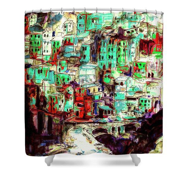 Abstract Riomaggiore Cinque Terre Art Shower Curtain