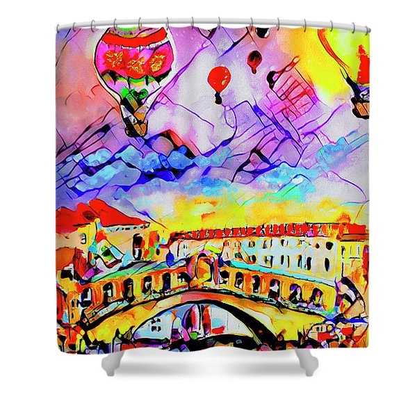 Abstract Venice Rialto Bridge Balloons Shower Curtain