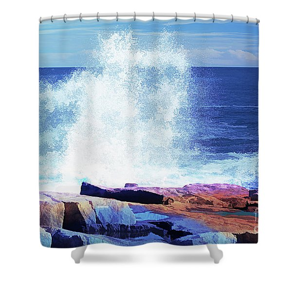 Crashing Waves At Schoodic Point Abstract Shower Curtain