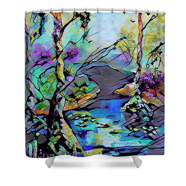 Abstract Wetland Trees And River Shower Curtain