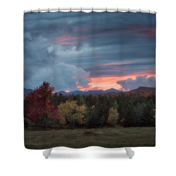 Adirondack Loj Road Sunset Shower Curtain