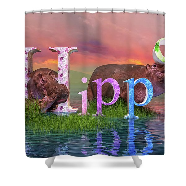 Adorable H For Hippo Shower Curtain