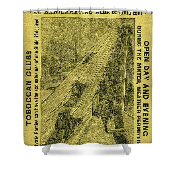 Advertisement For The First Toboggan Slide In Philadelphia Shower Curtain