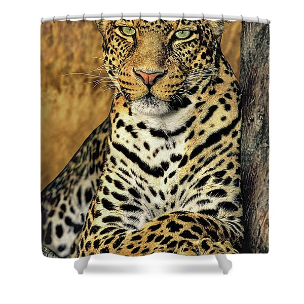African Leopard Portrait Wildlife Rescue Shower Curtain