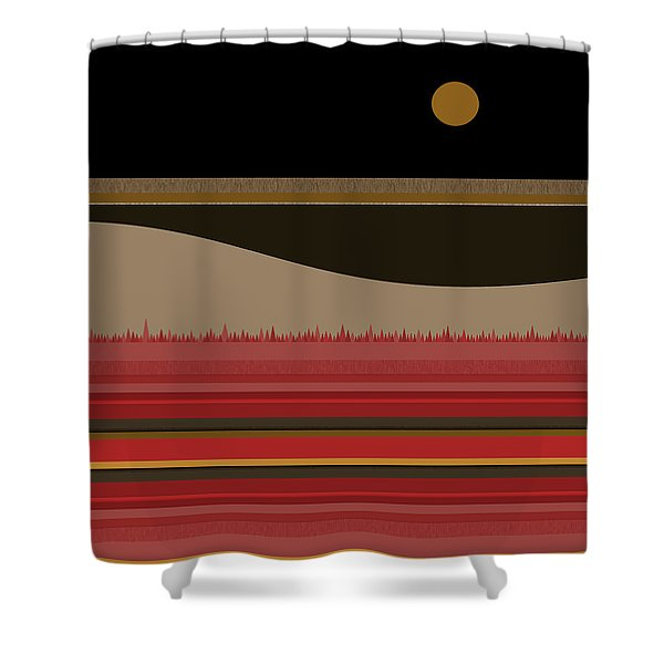 After Midnight Abstract Landscape Shower Curtain