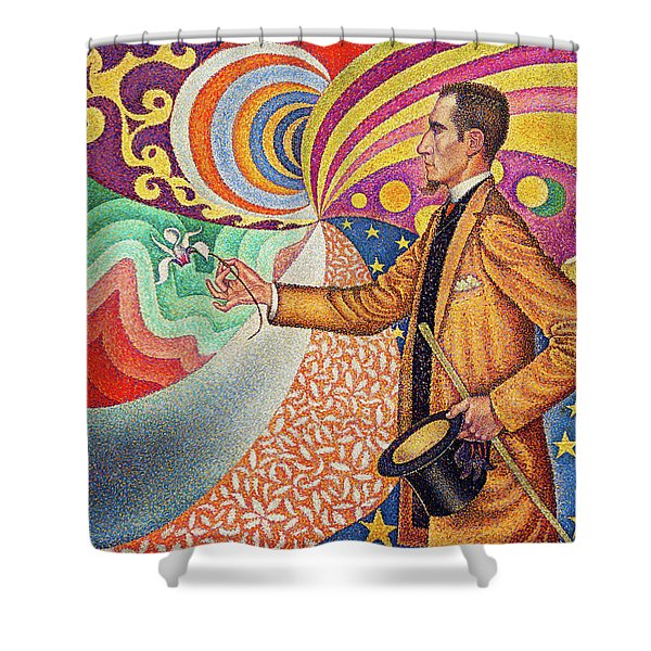Against The Enamel Of A Background Rhythmic With Beats And Angles, Tones, And Tints Shower Curtain