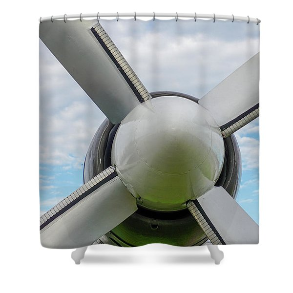 Shower Curtain featuring the photograph Aircraft Propellers. by Anjo Ten Kate