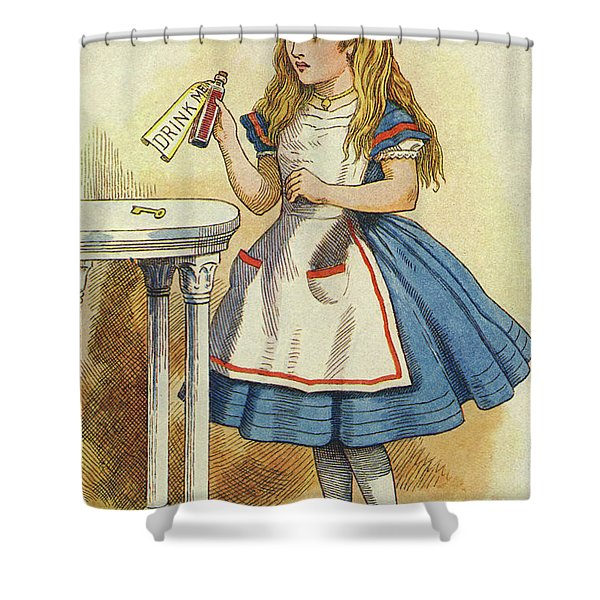 Alice Discovers A Bottle Marked Drink Me Shower Curtain