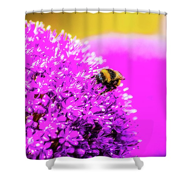 Allium With Bee 2 Shower Curtain
