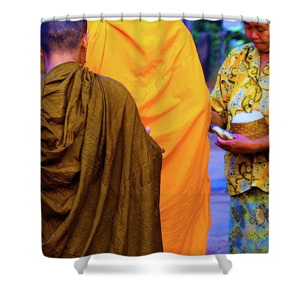Alms For The Monks Shower Curtain
