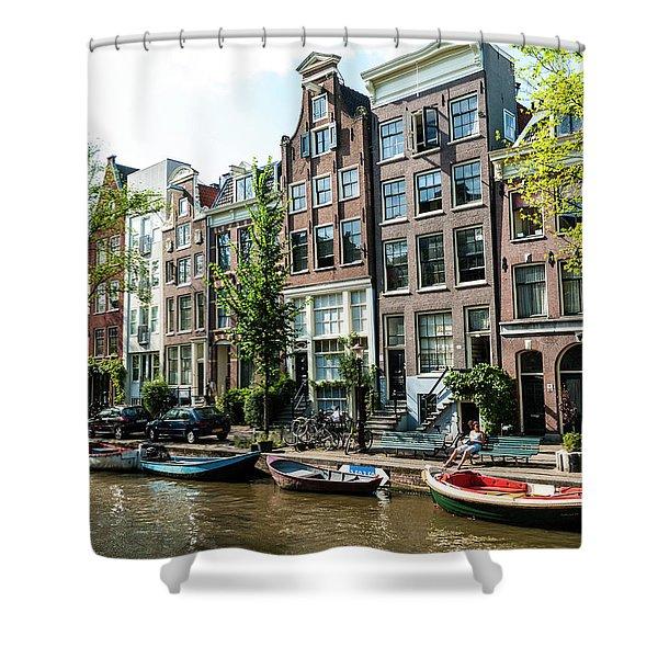Along An Amsterdam Canal Shower Curtain