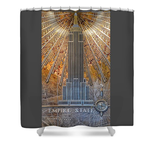 Aluminum Relief Inside The Empire State Building - New York Shower Curtain