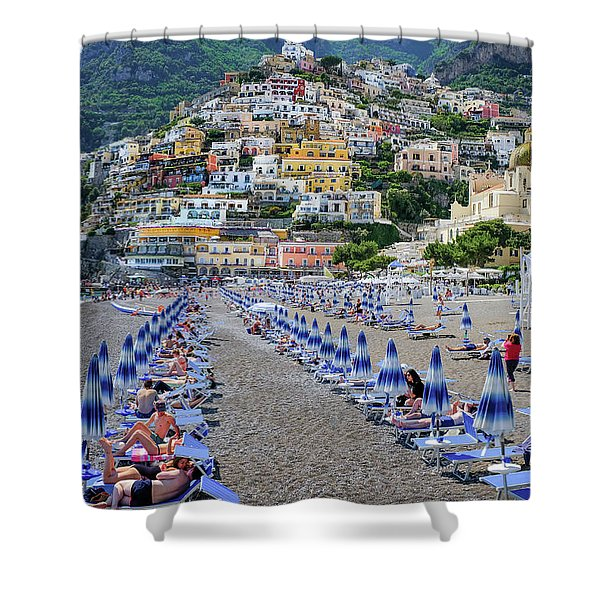 Shower Curtain featuring the photograph The Colorful Beaches And Village Of Amalfi Italy by Robert Bellomy