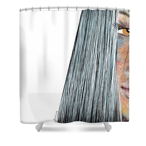 Amber Rose - Woman Abstract Art Shower Curtain