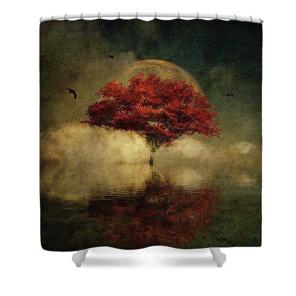 Shower Curtain featuring the digital art American Oak With Full Moon by Jan Keteleer