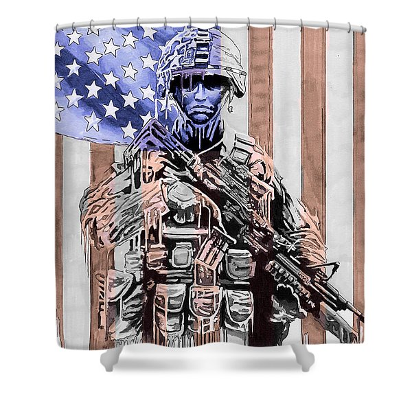 American Soldier Shower Curtain