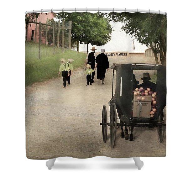 Amish Farmers Market Shower Curtain