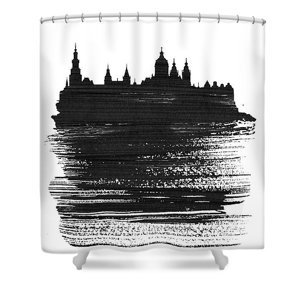 Amsterdam Skyline Brush Stroke Black Shower Curtain