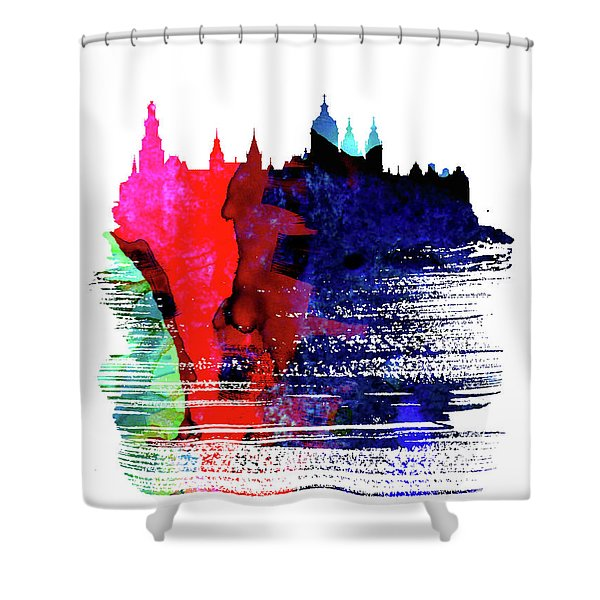 Amsterdam Skyline Brush Stroke Watercolor   Shower Curtain